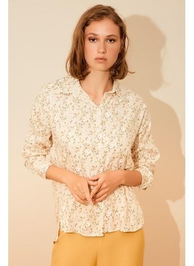Reyon Çiçek Desen Keten Kadın Gömlek Bej Bej